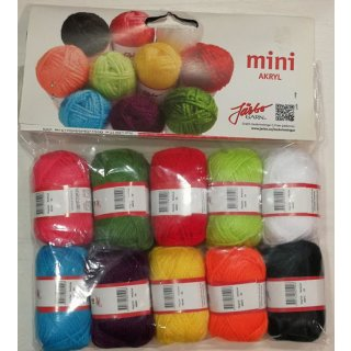 Järbo Mini Akryl Garn-Set 10x 10g, 10 Farben Art.Nr. 80500